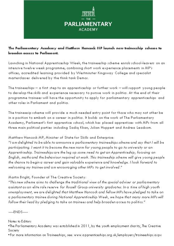 Parliamentary Traineeship press release v3